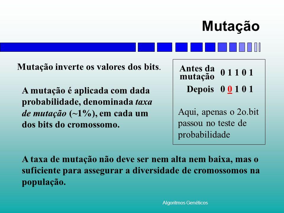 Algoritmos Genéticos Mutação A mutação é aplicada com dada probabilidade, denominada taxa de mutação (~1%), em cada um dos bits do cromossomo. Mutação