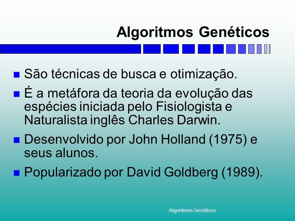 Algoritmos Genéticos São técnicas de busca e otimização. É a metáfora da teoria da evolução das espécies iniciada pelo Fisiologista e Naturalista ingl