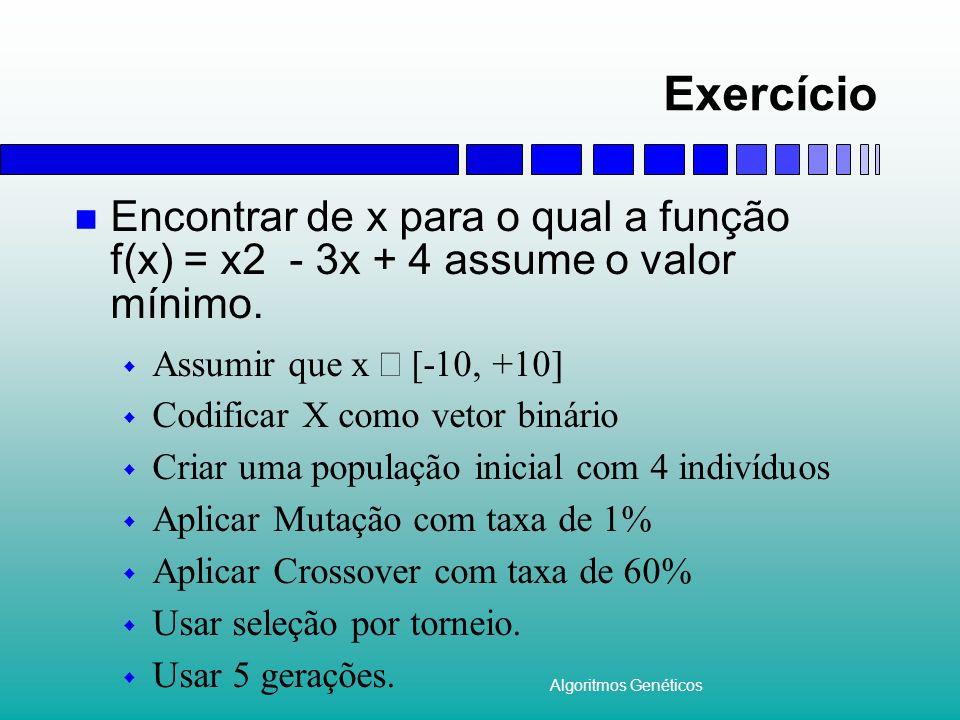 Algoritmos Genéticos Exercício Encontrar de x para o qual a função f(x) = x2 - 3x + 4 assume o valor mínimo. Assumir que x [-10, +10] Codificar X como