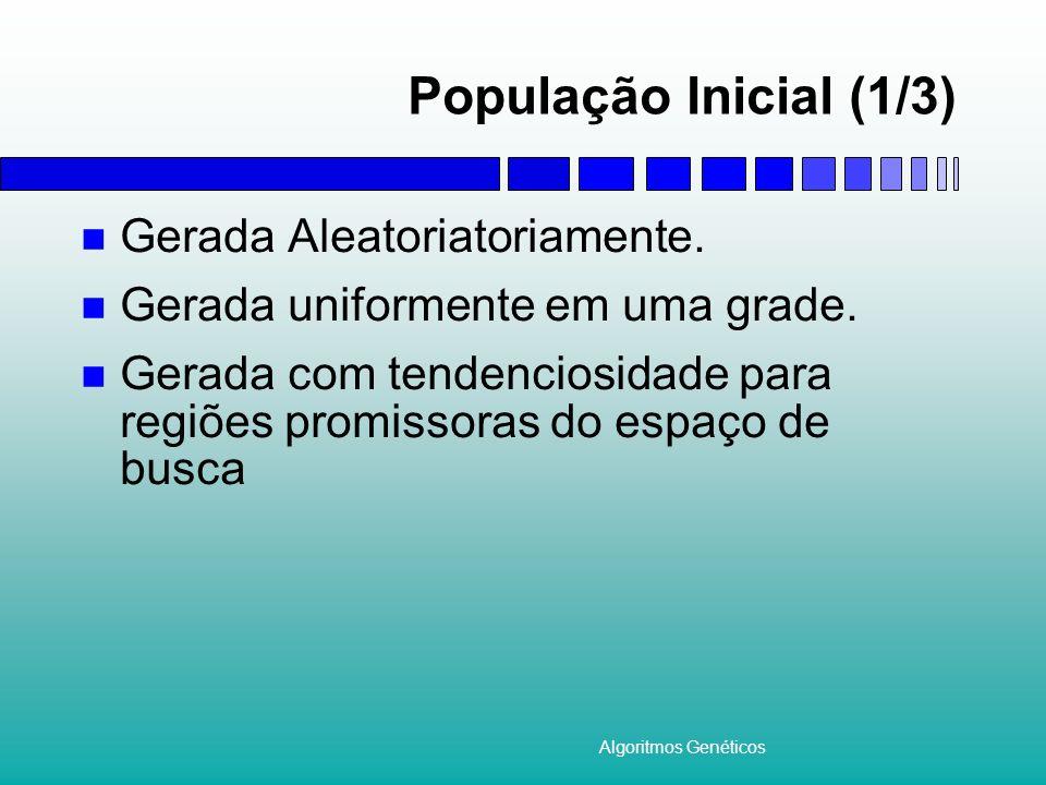 Algoritmos Genéticos População Inicial (1/3) Gerada Aleatoriatoriamente. Gerada uniformente em uma grade. Gerada com tendenciosidade para regiões prom