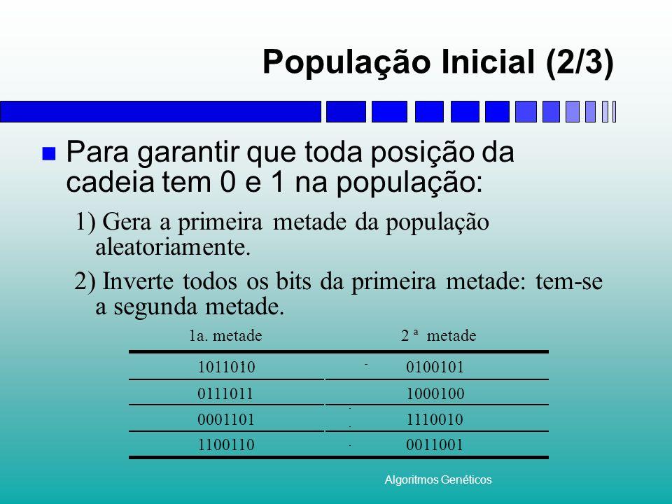 Algoritmos Genéticos População Inicial (2/3) Para garantir que toda posição da cadeia tem 0 e 1 na população: 1) Gera a primeira metade da população a