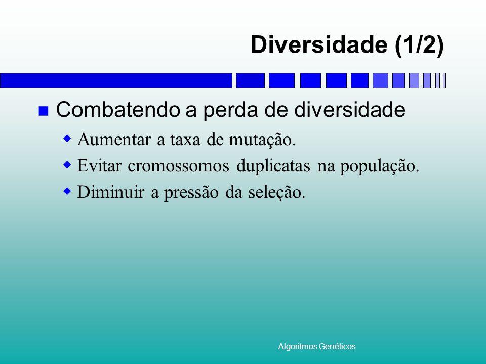 Algoritmos Genéticos Diversidade (1/2) Combatendo a perda de diversidade Aumentar a taxa de mutação. Evitar cromossomos duplicatas na população. Dimin