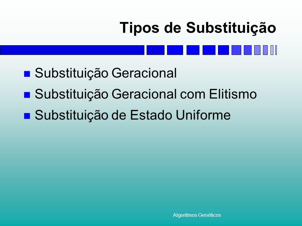 Algoritmos Genéticos Tipos de Substituição Substituição Geracional Substituição Geracional com Elitismo Substituição de Estado Uniforme