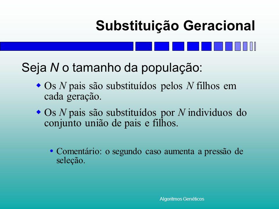 Algoritmos Genéticos Substituição Geracional Seja N o tamanho da população: Os N pais são substituídos pelos N filhos em cada geração. Os N pais são s