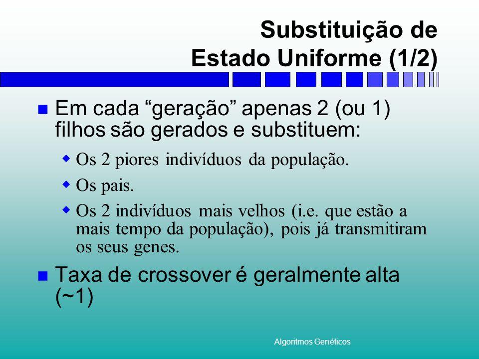 Algoritmos Genéticos Substituição de Estado Uniforme (1/2) Em cada geração apenas 2 (ou 1) filhos são gerados e substituem: Os 2 piores indivíduos da