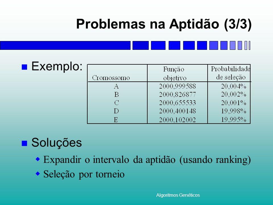 Algoritmos Genéticos Problemas na Aptidão (3/3) Exemplo: Soluções Expandir o intervalo da aptidão (usando ranking) Seleção por torneio