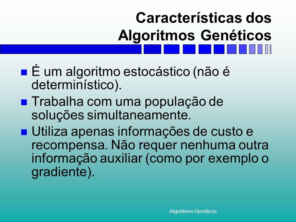Algoritmos Genéticos Características dos Algoritmos Genéticos É um algoritmo estocástico (não é determinístico). Trabalha com uma população de soluçõe