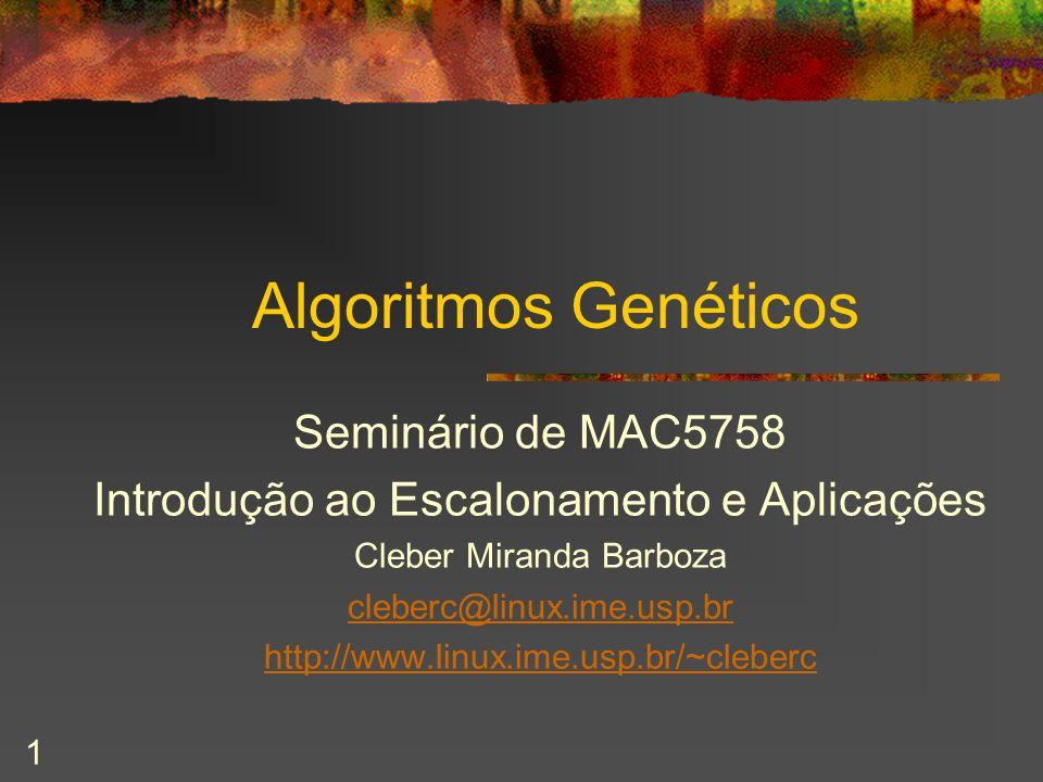 1 Algoritmos Genéticos Seminário de MAC5758 Introdução ao Escalonamento e Aplicações Cleber Miranda Barboza cleberc@linux.ime.usp.br http://www.linux.