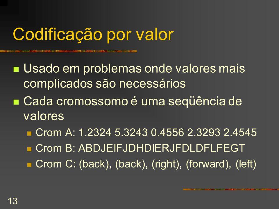 13 Codificação por valor Usado em problemas onde valores mais complicados são necessários Cada cromossomo é uma seqüência de valores Crom A: 1.2324 5.