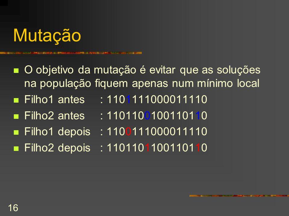 16 Mutação O objetivo da mutação é evitar que as soluções na população fiquem apenas num mínimo local Filho1 antes: 1101111000011110 Filho2 antes: 110