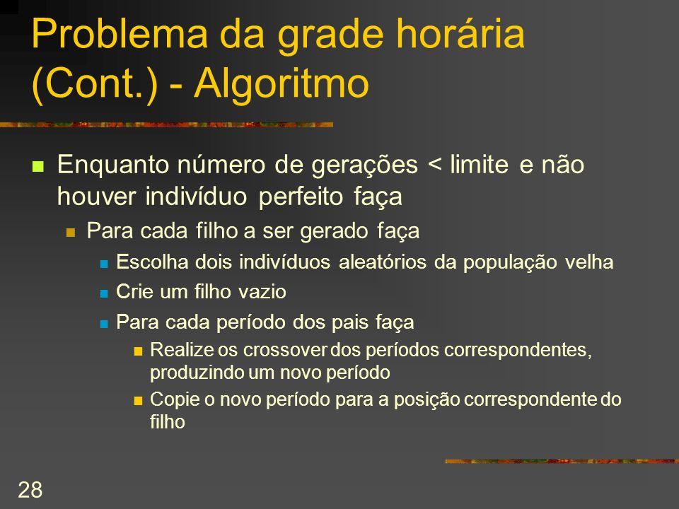 28 Problema da grade horária (Cont.) - Algoritmo Enquanto número de gerações < limite e não houver indivíduo perfeito faça Para cada filho a ser gerad