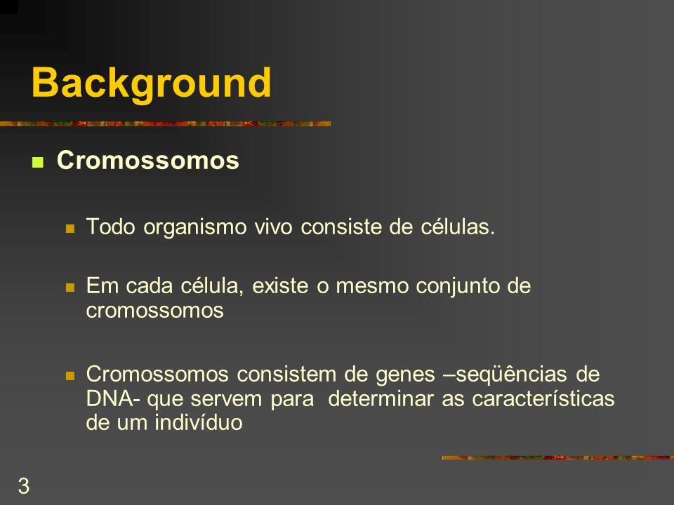 3 Background Cromossomos Todo organismo vivo consiste de células. Em cada célula, existe o mesmo conjunto de cromossomos Cromossomos consistem de gene
