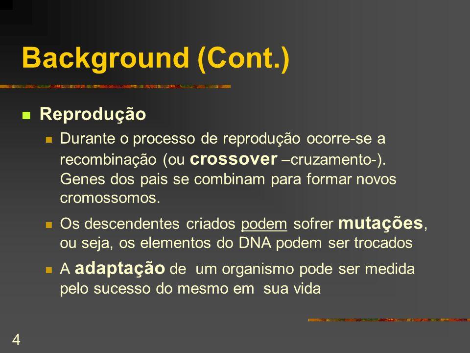 4 Background (Cont.) Reprodução Durante o processo de reprodução ocorre-se a recombinação (ou crossover –cruzamento-). Genes dos pais se combinam para