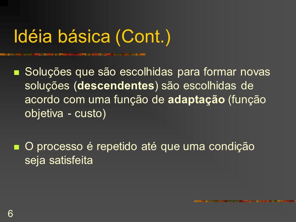 6 Idéia básica (Cont.) Soluções que são escolhidas para formar novas soluções (descendentes) são escolhidas de acordo com uma função de adaptação (fun