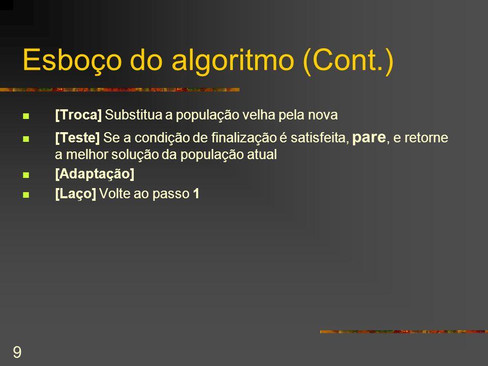 9 Esboço do algoritmo (Cont.) [Troca] Substitua a população velha pela nova [Teste] Se a condição de finalização é satisfeita, pare, e retorne a melho