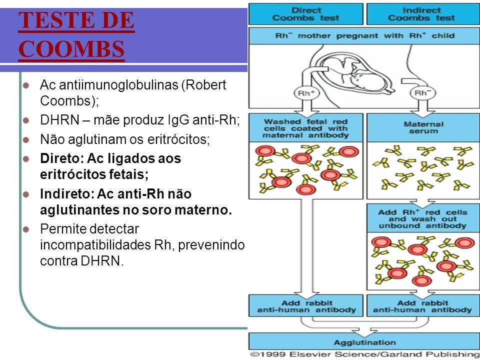TESTE DE COOMBS Ac antiimunoglobulinas (Robert Coombs); DHRN – mãe produz IgG anti-Rh; Não aglutinam os eritrócitos; Direto: Ac ligados aos eritrócito