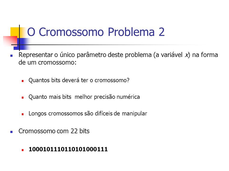 O Cromossomo Problema 2 Representar o único parâmetro deste problema (a variável x) na forma de um cromossomo: Quantos bits deverá ter o cromossomo? Q