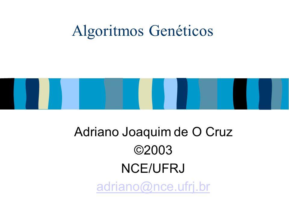 @2002 Adriano Cruz NCE e IM - UFRJAlgoritmos Genéticos 12 Mecanismos Na natureza a competição por recursos escassos em ambientes hostis ou que se alteram faz com que os mais aptos sobrevivam e consigam se reproduzir.