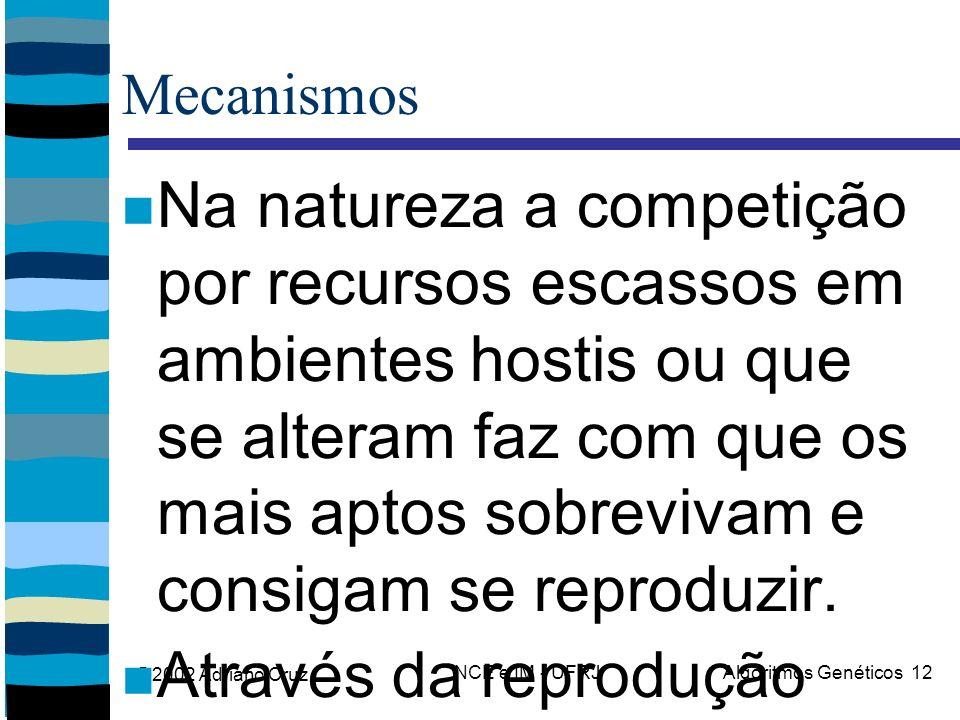 @2002 Adriano Cruz NCE e IM - UFRJAlgoritmos Genéticos 12 Mecanismos Na natureza a competição por recursos escassos em ambientes hostis ou que se alte