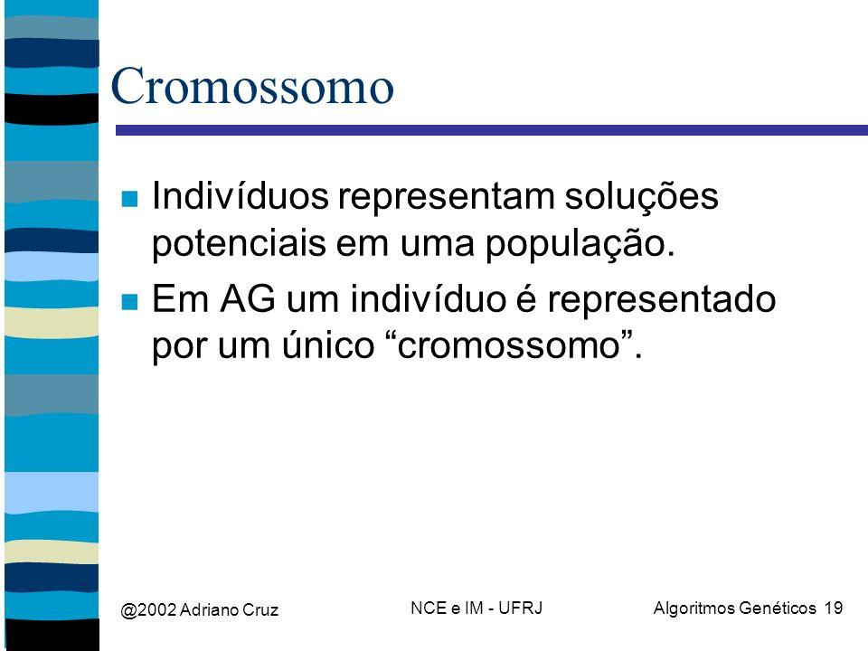 @2002 Adriano Cruz NCE e IM - UFRJAlgoritmos Genéticos 19 Cromossomo Indivíduos representam soluções potenciais em uma população. Em AG um indivíduo é