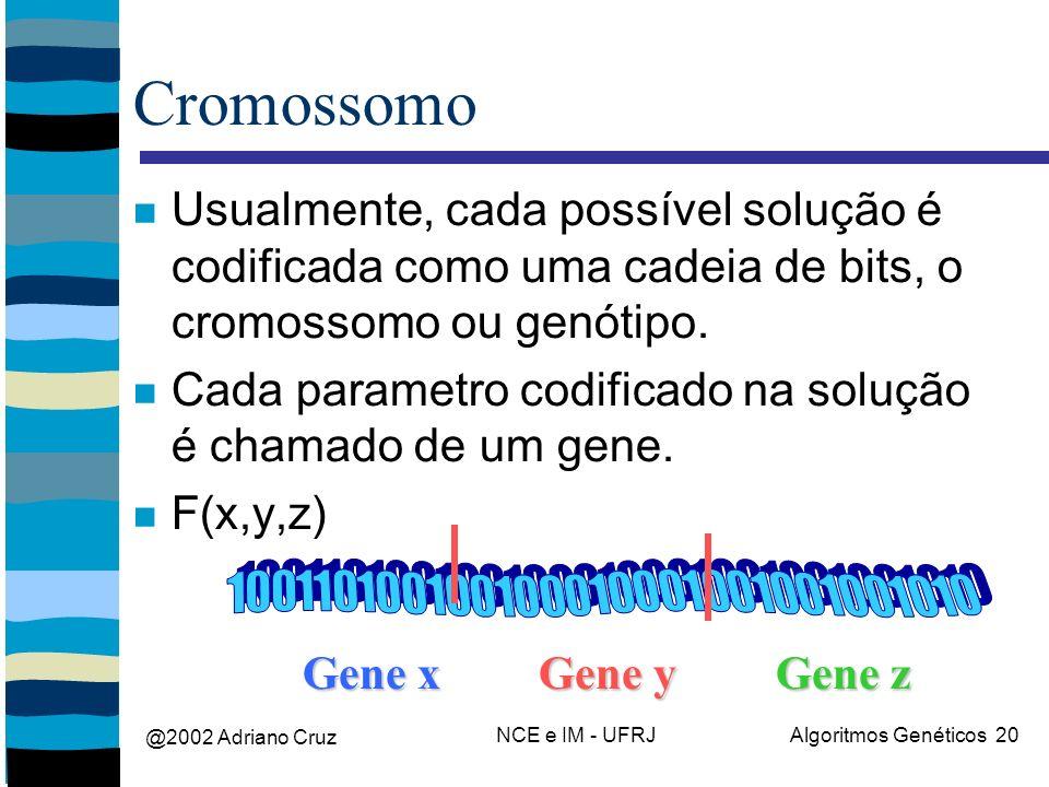 @2002 Adriano Cruz NCE e IM - UFRJAlgoritmos Genéticos 20 Cromossomo Usualmente, cada possível solução é codificada como uma cadeia de bits, o cromossomo ou genótipo.