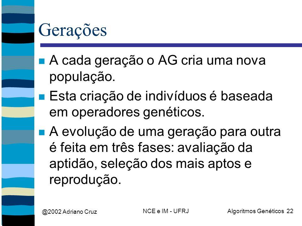 @2002 Adriano Cruz NCE e IM - UFRJAlgoritmos Genéticos 22 Gerações A cada geração o AG cria uma nova população. Esta criação de indivíduos é baseada e