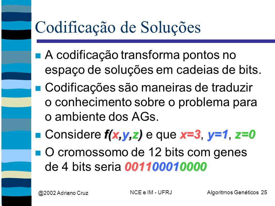 @2002 Adriano Cruz NCE e IM - UFRJAlgoritmos Genéticos 25 Codificação de Soluções A codificação transforma pontos no espaço de soluções em cadeias de