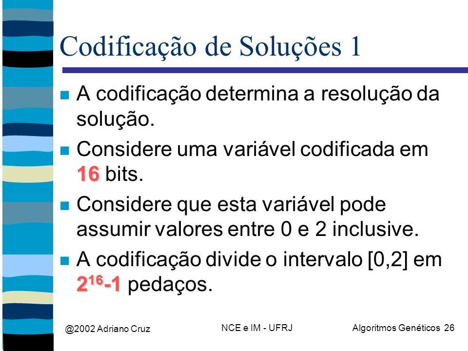@2002 Adriano Cruz NCE e IM - UFRJAlgoritmos Genéticos 26 Codificação de Soluções 1 A codificação determina a resolução da solução. 16 Considere uma v