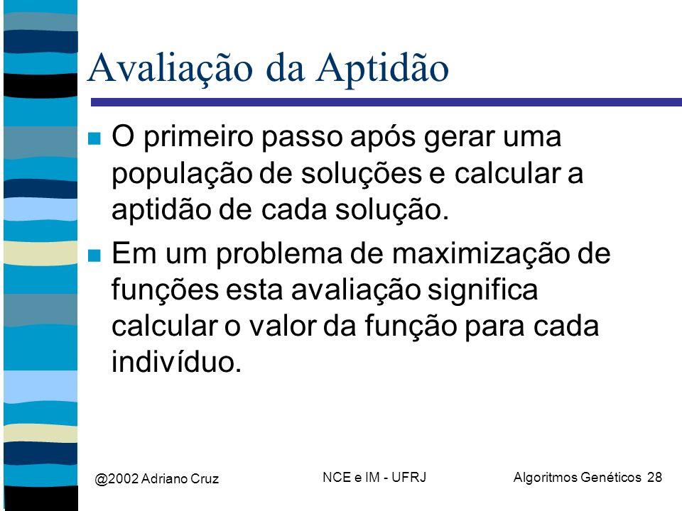 @2002 Adriano Cruz NCE e IM - UFRJAlgoritmos Genéticos 28 Avaliação da Aptidão O primeiro passo após gerar uma população de soluções e calcular a apti