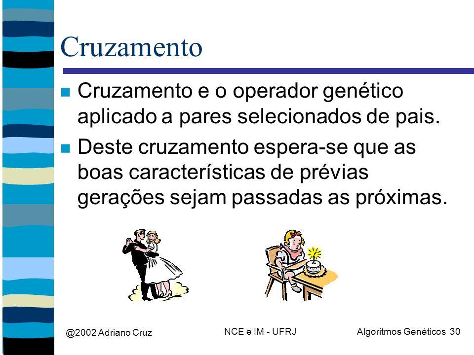 @2002 Adriano Cruz NCE e IM - UFRJAlgoritmos Genéticos 30 Cruzamento Cruzamento e o operador genético aplicado a pares selecionados de pais. Deste cru
