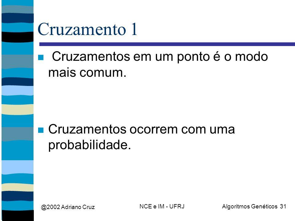 @2002 Adriano Cruz NCE e IM - UFRJAlgoritmos Genéticos 31 Cruzamento 1 Cruzamentos em um ponto é o modo mais comum. Cruzamentos ocorrem com uma probab