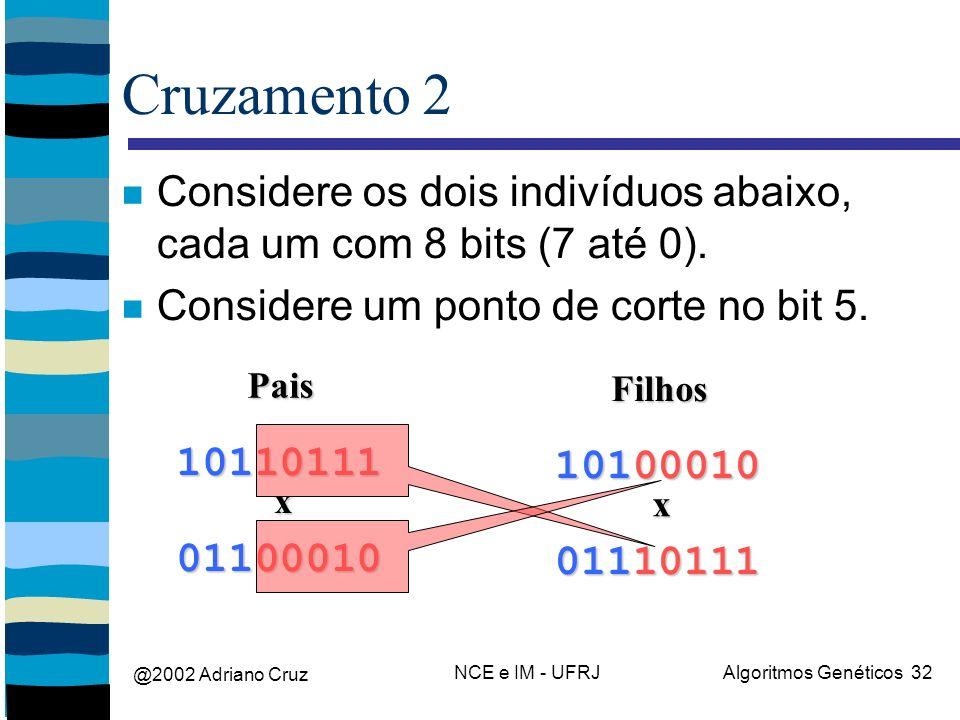 @2002 Adriano Cruz NCE e IM - UFRJAlgoritmos Genéticos 32 Cruzamento 2 Considere os dois indivíduos abaixo, cada um com 8 bits (7 até 0).