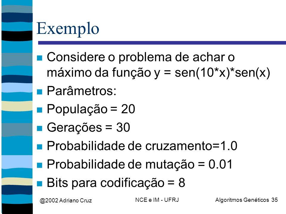 @2002 Adriano Cruz NCE e IM - UFRJAlgoritmos Genéticos 35 Exemplo Considere o problema de achar o máximo da função y = sen(10*x)*sen(x) Parâmetros: População = 20 Gerações = 30 Probabilidade de cruzamento=1.0 Probabilidade de mutação = 0.01 Bits para codificação = 8
