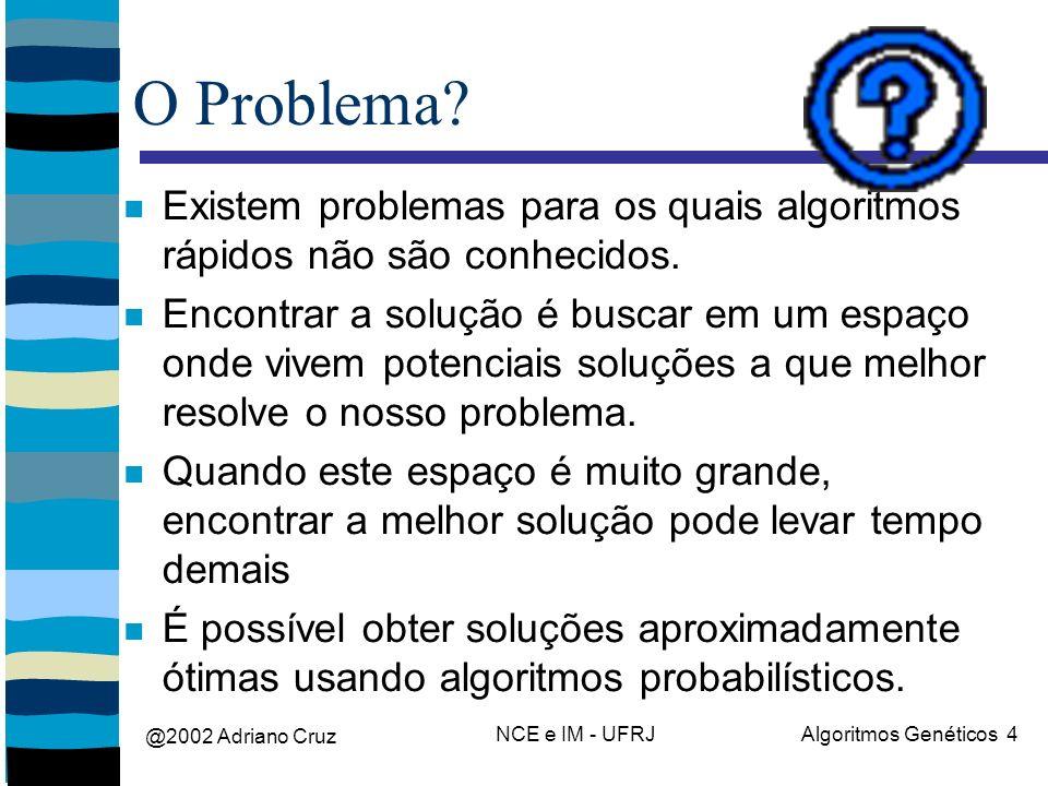@2002 Adriano Cruz NCE e IM - UFRJAlgoritmos Genéticos 4 O Problema? Existem problemas para os quais algoritmos rápidos não são conhecidos. Encontrar