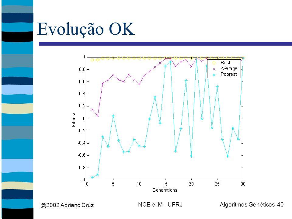 @2002 Adriano Cruz NCE e IM - UFRJAlgoritmos Genéticos 40 Evolução OK