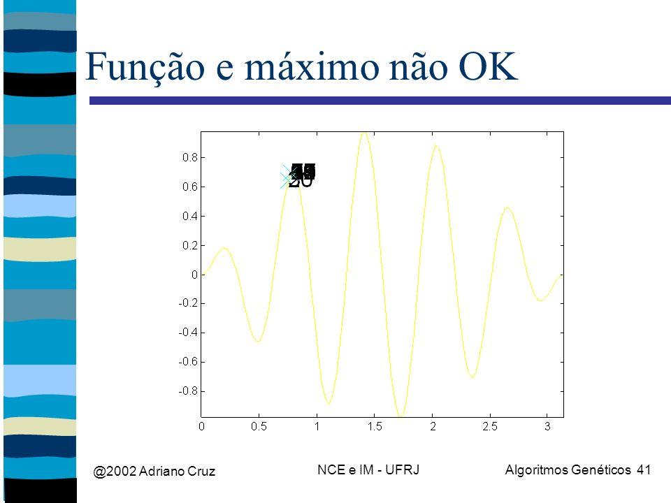 @2002 Adriano Cruz NCE e IM - UFRJAlgoritmos Genéticos 41 Função e máximo não OK