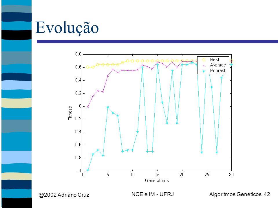 @2002 Adriano Cruz NCE e IM - UFRJAlgoritmos Genéticos 42 Evolução