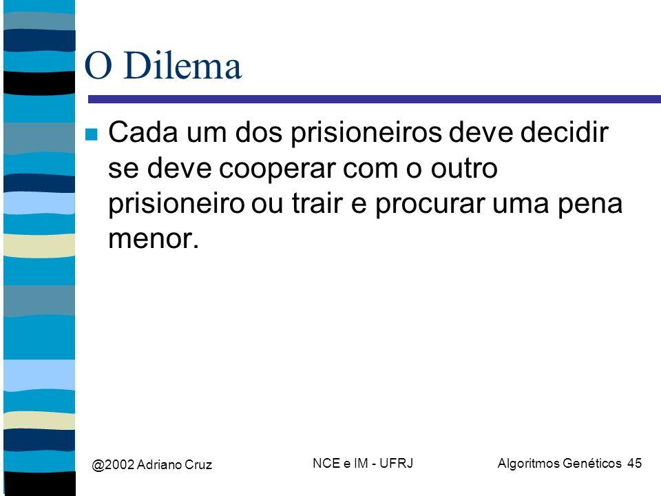 @2002 Adriano Cruz NCE e IM - UFRJAlgoritmos Genéticos 45 O Dilema Cada um dos prisioneiros deve decidir se deve cooperar com o outro prisioneiro ou trair e procurar uma pena menor.