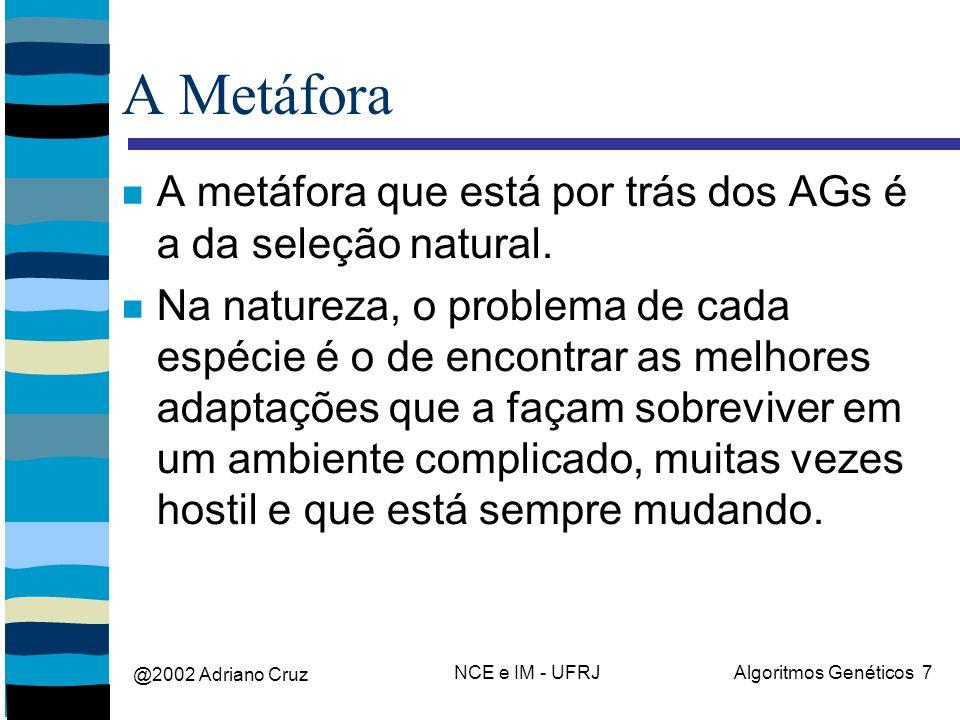 @2002 Adriano Cruz NCE e IM - UFRJAlgoritmos Genéticos 7 A Metáfora A metáfora que está por trás dos AGs é a da seleção natural. Na natureza, o proble