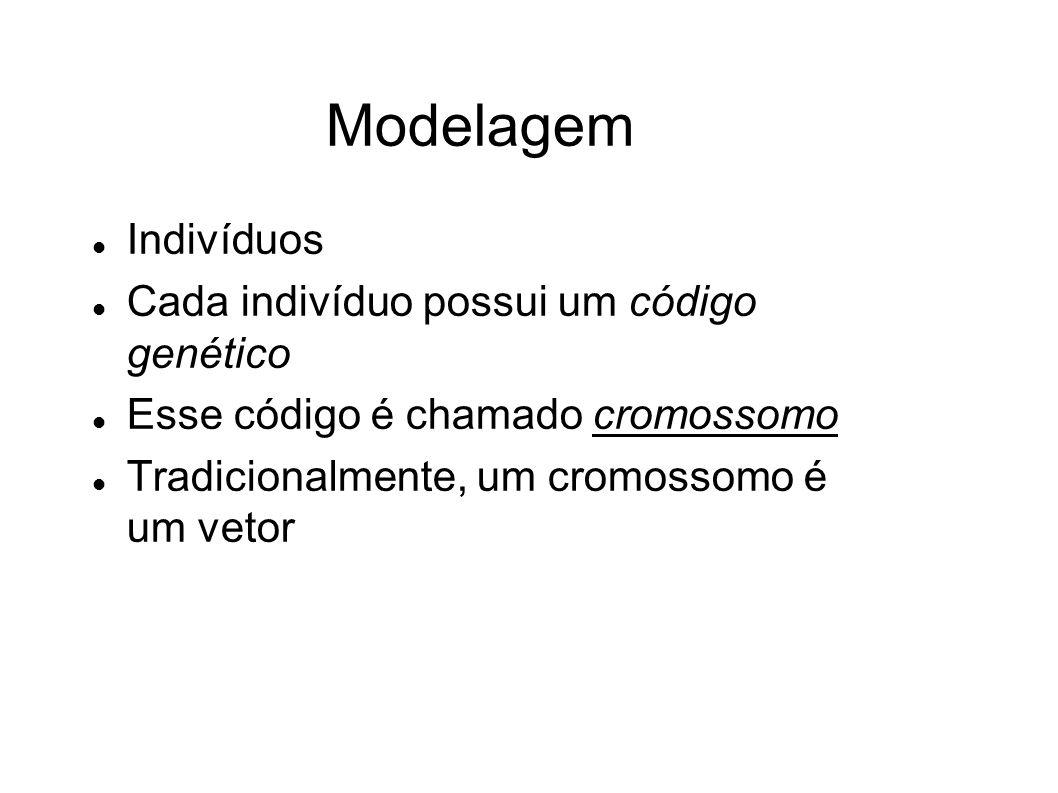 Modelagem Indivíduos Cada indivíduo possui um código genético Esse código é chamado cromossomo Tradicionalmente, um cromossomo é um vetor