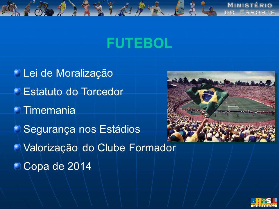 FUTEBOL Lei de Moralização Estatuto do Torcedor Timemania Segurança nos Estádios Valorização do Clube Formador Copa de 2014