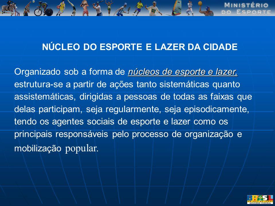 NÚCLEO DO ESPORTE E LAZER DA CIDADE núcleos de esporte e lazer, Organizado sob a forma de núcleos de esporte e lazer, estrutura-se a partir de ações t