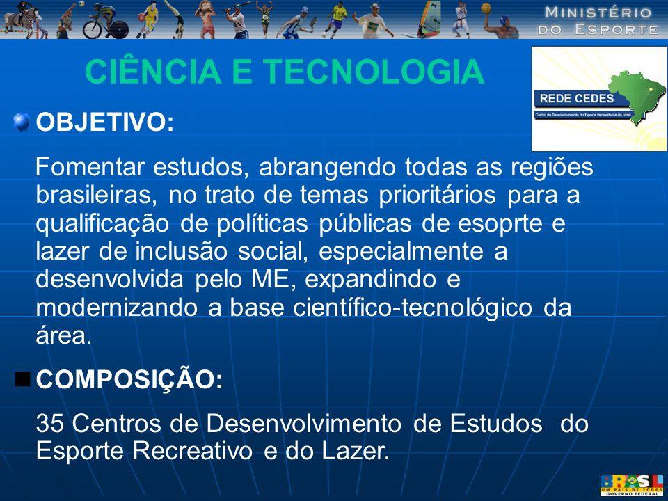 CIÊNCIA E TECNOLOGIA OBJETIVO: Fomentar estudos, abrangendo todas as regiões brasileiras, no trato de temas prioritários para a qualificação de políti