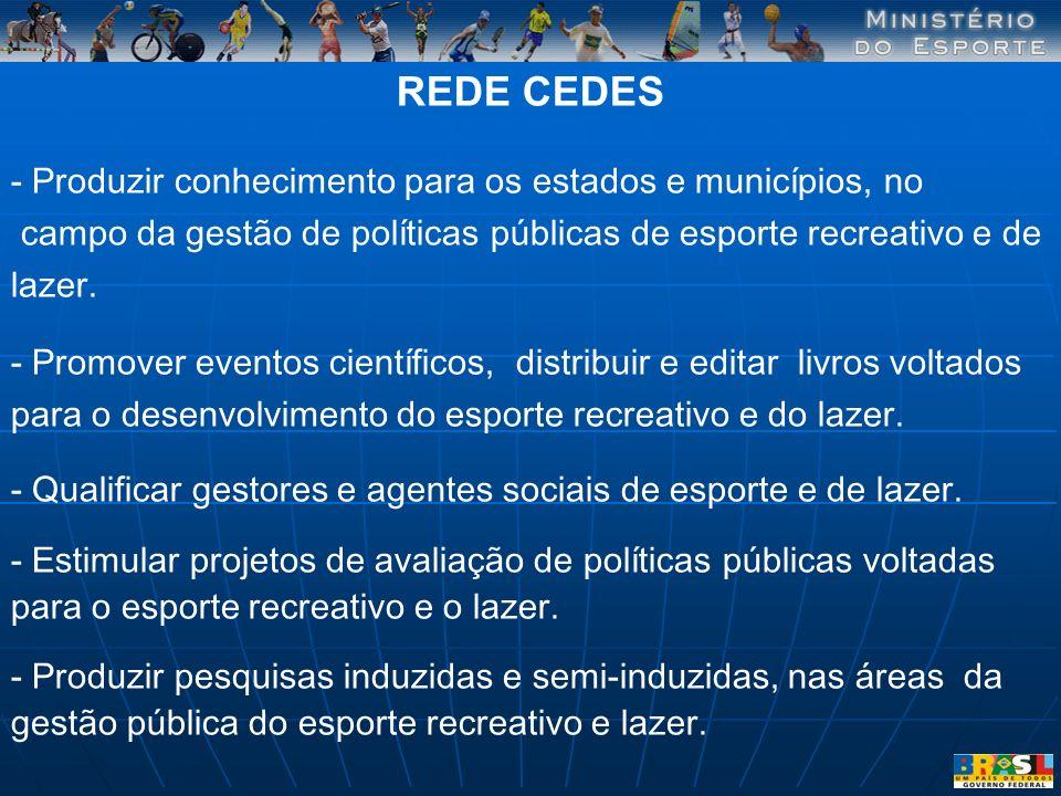 REDE CEDES - Produzir conhecimento para os estados e municípios, no campo da gestão de políticas públicas de esporte recreativo e de lazer. - Promover