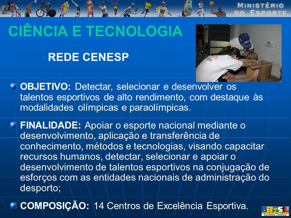CIÊNCIA E TECNOLOGIA OBJETIVO: Detectar, selecionar e desenvolver os talentos esportivos de alto rendimento, com destaque às modalidades olímpicas e p