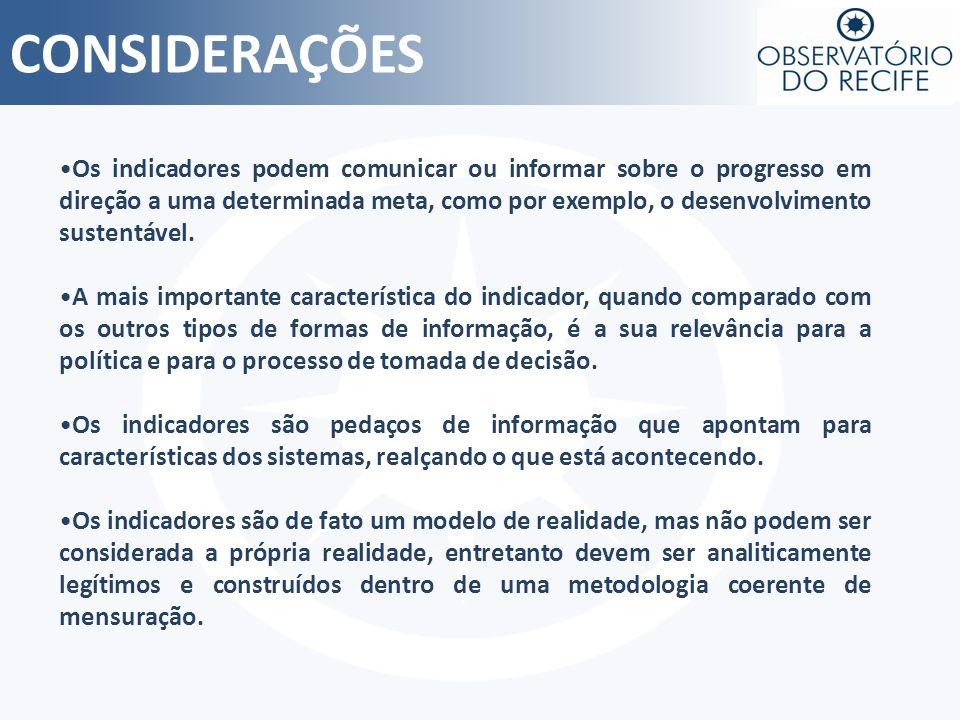 CONSIDERAÇÕES Os indicadores podem comunicar ou informar sobre o progresso em direção a uma determinada meta, como por exemplo, o desenvolvimento sust