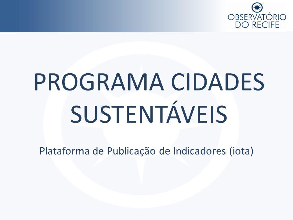 PROGRAMA CIDADES SUSTENTÁVEIS Plataforma de Publicação de Indicadores (iota)