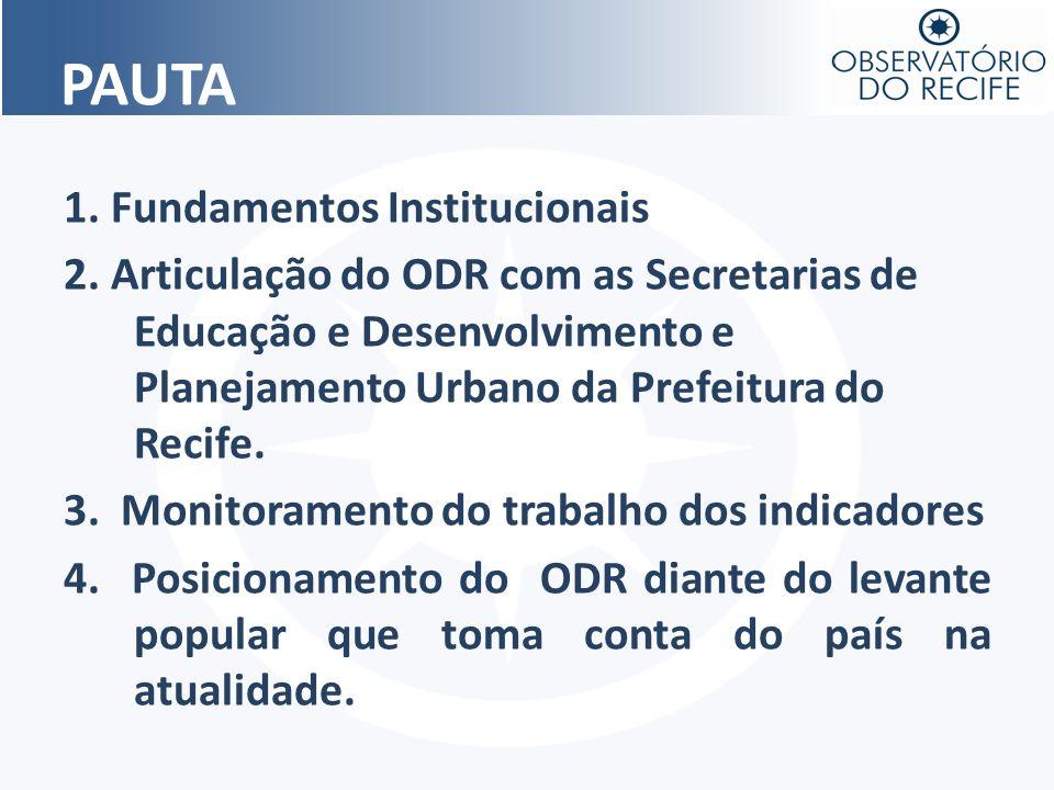 1. Fundamentos Institucionais 2. Articulação do ODR com as Secretarias de Educação e Desenvolvimento e Planejamento Urbano da Prefeitura do Recife. 3.