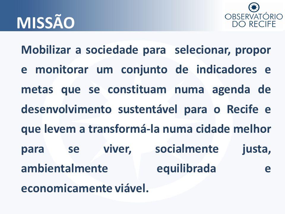 MISSÃO Mobilizar a sociedade para selecionar, propor e monitorar um conjunto de indicadores e metas que se constituam numa agenda de desenvolvimento s