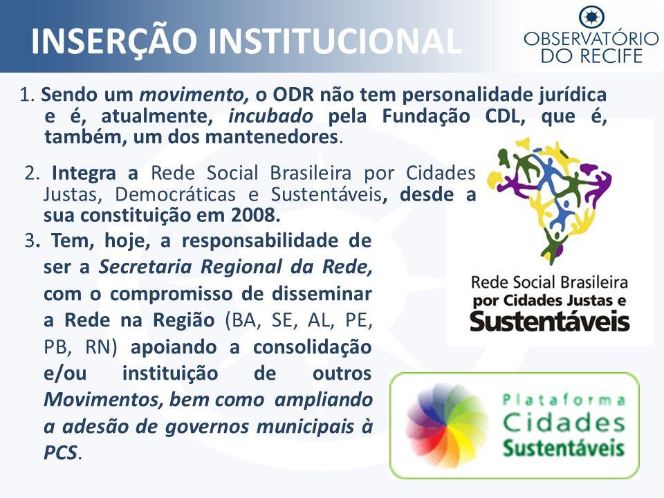 INSERÇÃO INSTITUCIONAL 1. Sendo um movimento, o ODR não tem personalidade jurídica e é, atualmente, incubado pela Fundação CDL, que é, também, um dos